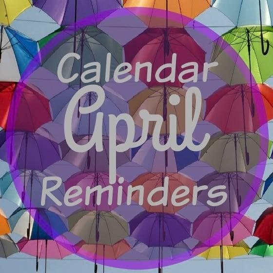 April Homeschool Calendar Reminders