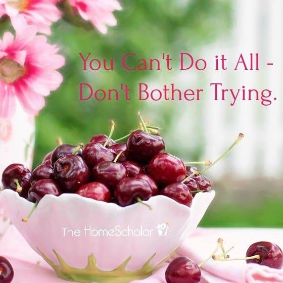 You Can't Do it All - Don't Bother Trying