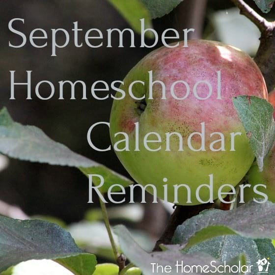 September Homeschool Calendar Reminders