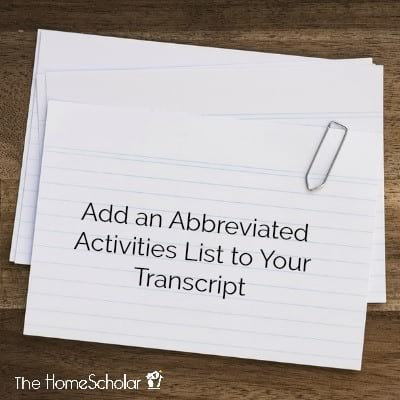Add an Abbreviated Activities List to Your Transcript