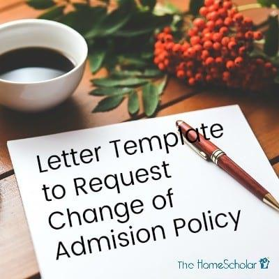 Letter Template to Request Change of Admission Policy