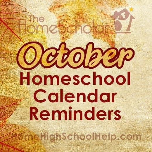 October Homeschool Calendar Reminders