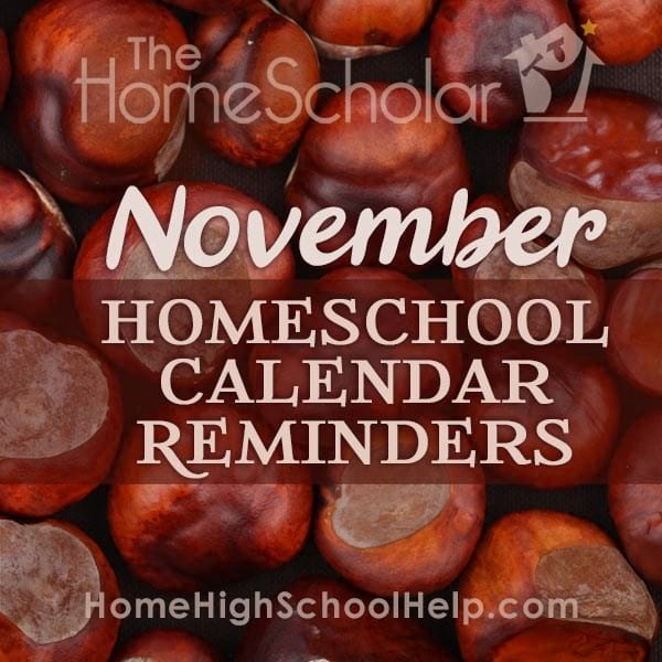 November Homeschool Calendar Reminders