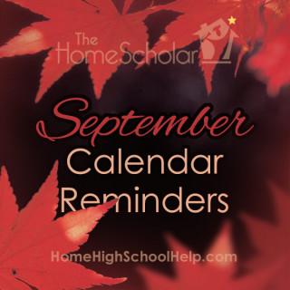 September Homeschool Calendar Reminders